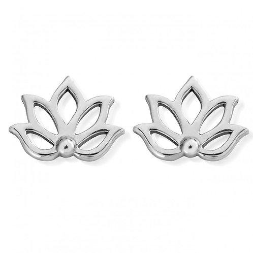 ChloBo Silver Lotus Stud Earrings - SEST495