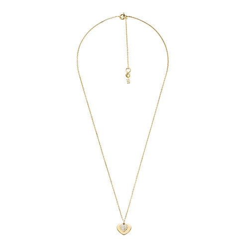 Michael Kors Yellow Gold Heart Duo Pendant Charm Necklace