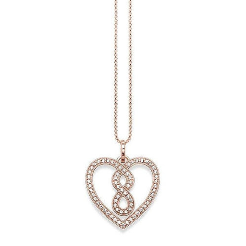 Thomas Sabo CZ Infinity Heart Rose Gold Tone Necklace - KE1497-416-14-L45V