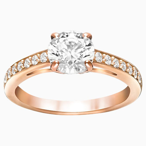 SWAROVSKI Attract Round Ring Rose Gold Tone Clear Crystal