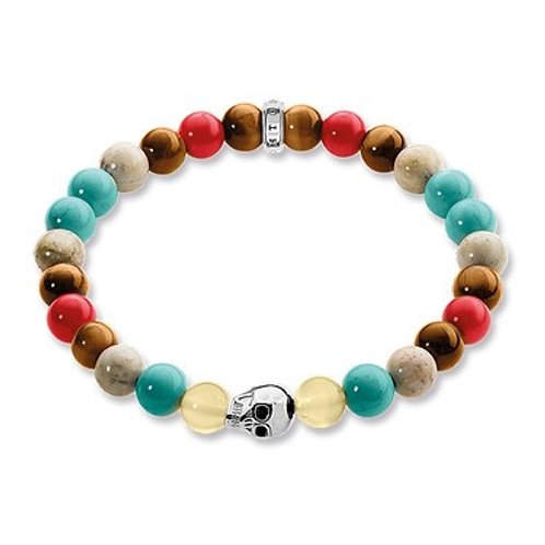 Thomas Sabo Multi-Coloured Skull Bead Bracelet - A1514-883-7