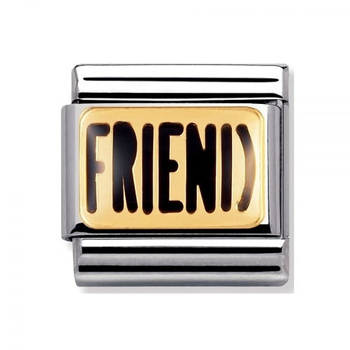 Nomination Gold and Black FRIEND Charm Link - 030232/02