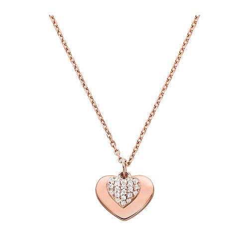 Michael Kors Rose Gold Heart Duo Pendant Charm Necklace