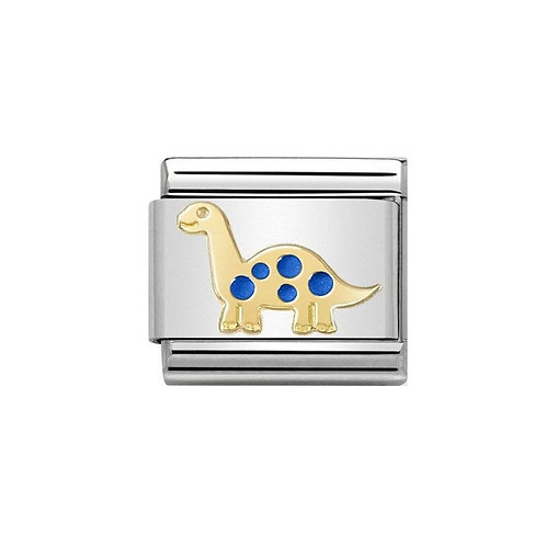 Nomination Gold and Blue Dinosaur Charm Link - 030272/39