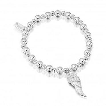 ChloBo Silver Small Ball Angel Wing Bracelet - MSBAW