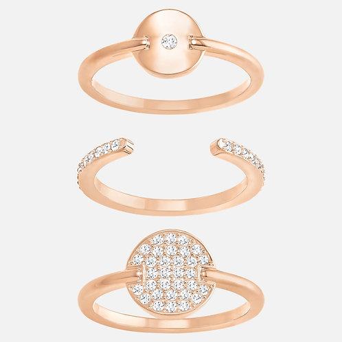 SWAROVSKI Ginger Rose Gold Tone Ring Set - 3 rings