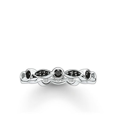 Thomas Sabo Silver with Black CZ Marquise Shape Ring - TR1985-051-14-52