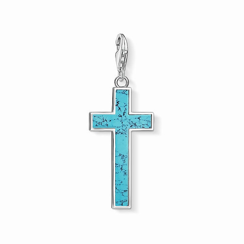 Thomas Sabo Small Silver Turquoise Cross Charm - Y0021-404-17
