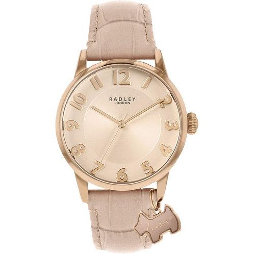 RADLEY Ladies Dusky Pink Embossed Leather Strap Watch - RY2872