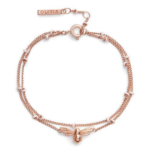 Olivia Burton Lucky Bee Rose Gold Chain Bracelet - OBJAMB129
