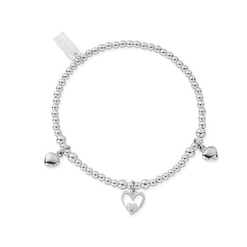 ChloBo Silver Mini Ball Triple Heart Bracelet - SBSB7321101