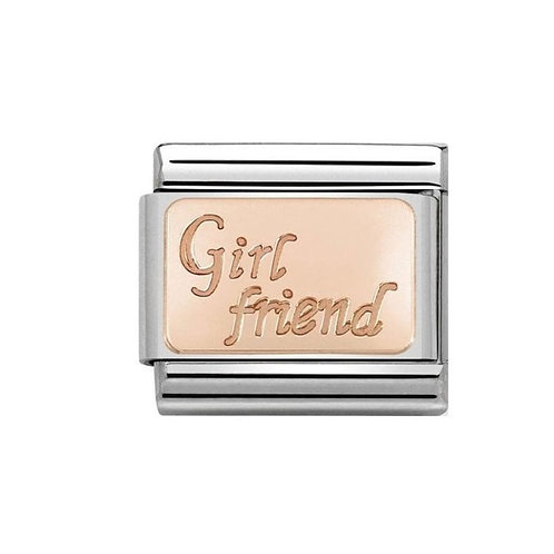 Nomination Rose Gold Girl friend Plates Charm Link - 430108/13