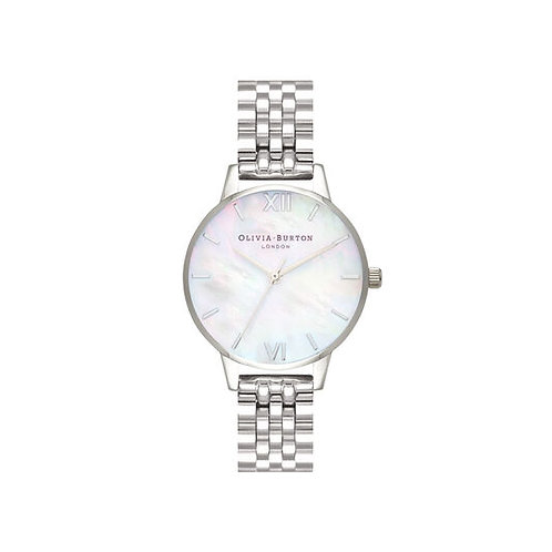 Olivia Burton Mother of Pearl Dial Silver Bracelet Watch - O