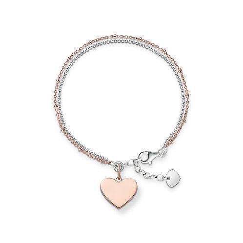 Thomas Sabo Silver and Rose Gold Tone Heart Bracelet - LBA0102-415-12-L19V