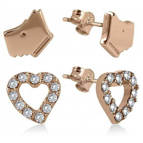 RADLEY Sterling Silver Rose Gold Love Radley Scottie Dog CZ Heart Stud Earrings