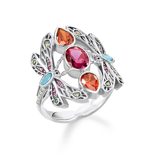 Thomas Sabo Sterling Silver Colourful Dragonfly Ring - TR2228-340-7