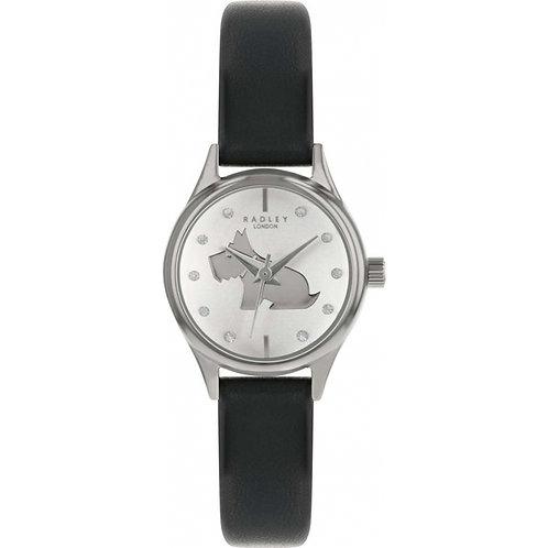 RADLEY Ladies Crystal Dog Black Leather Strap Watch - RY2753S