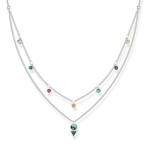 Thomas Sabo Sterling Silver Colourful Stones Necklace- KE1844-983-7