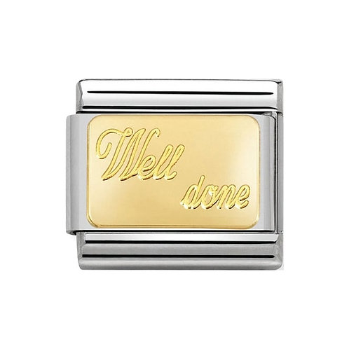 Nomination Gold Engraved Well Done Charm Link - 030121/27