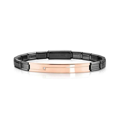 Nomination Trendsetter Black and Rose Gold Bracelet with Cubic Zirconia