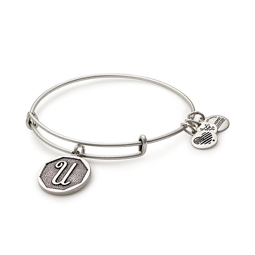Alex and Ani Rafaelian Silver Initial U Charm Bangle - A13EB14US