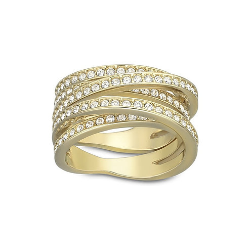 SWAROVSKI Spiral Gold Tone Ring Clear Crystal