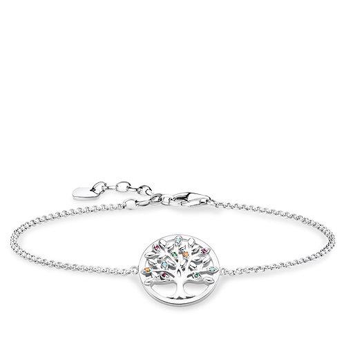 Thomas Sabo Colourful Tree of Love Sterling Silver Bracelet - A1868-477-7-L19v