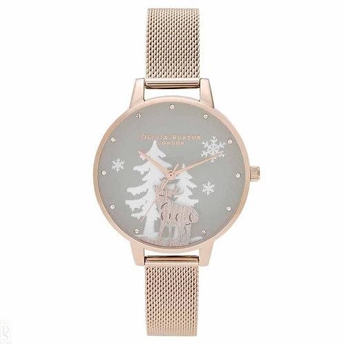 Olivia Burton Stag Winter Wonderland Rose Gold Mesh Strap Watch - OB16AW01