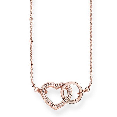 Thomas Sabo Silver rose gold Together Forever Heart Necklace - KE1731-416-14