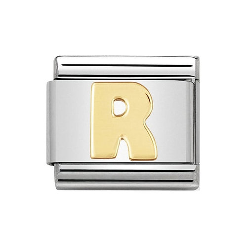 Nomination Gold Initial R Charm Link -030101/18