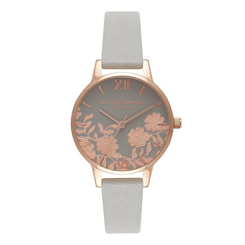 Olivia Burton Lace and Grey Leather Strap Rose Gold Watch - OB16MV58