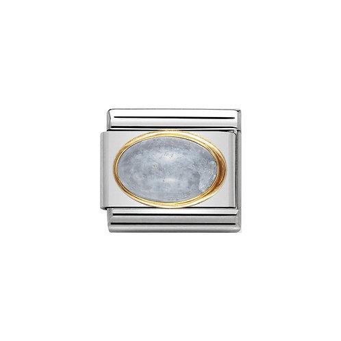 Nomination Gold Oval Blue Aquamarine Charm Link - 030504/01