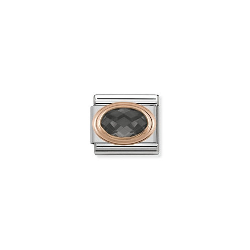 Nomination Rose Gold Oval Facetted CZ Charm Link - 430601