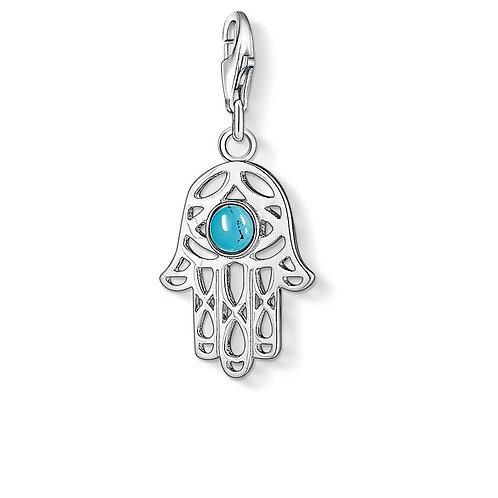 Thomas Sabo Small Silver Ethnic Turquoise Hamsa Hand Charm - 1052-404-17