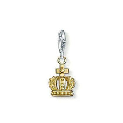 Thomas Sabo Silver Gold Crown Charm - 0945-413-12