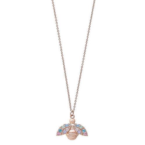 Olivia Burton Rainbow Bee Rose Gold Pendant Necklace