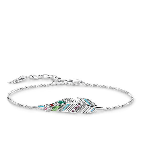 Thomas Sabo Multi-coloured Feather Sterling Silver Bracelet - A1749-340-7-L19v