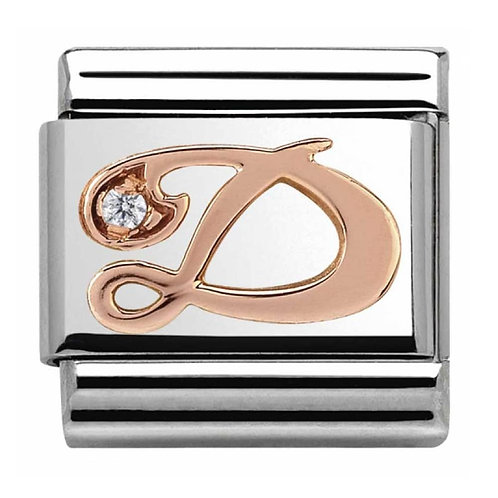 Nomination Rose Gold D Letter Charm Link  - 430310/04