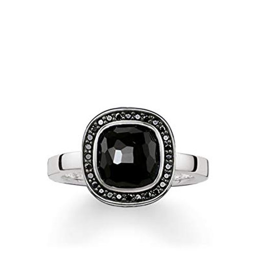 Thomas Sabo Silver Black Onyx Solitaire Ring - TR2029-641-11-56