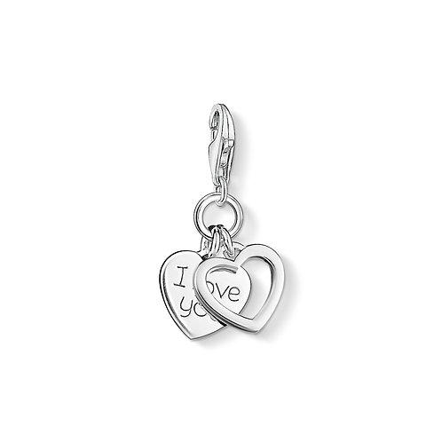 Thomas Sabo Silver I Love You double Heart Charm - 0852-001-12