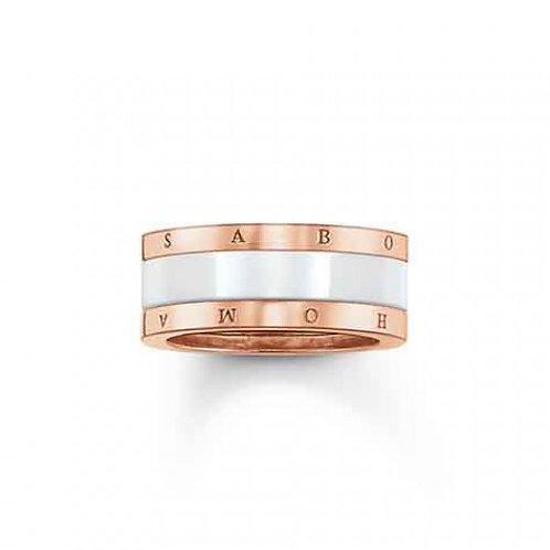 Thomas Sabo Silver Rose Gold White Ceramic Ring - TR1994-593-14