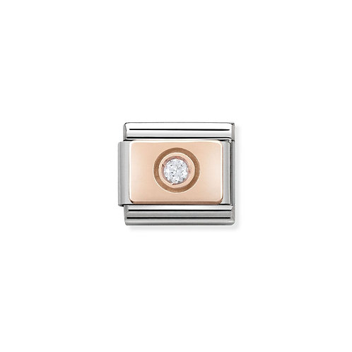 Nomination Rose Gold Circle Plate Clear CZ Charm Link - 430303/03