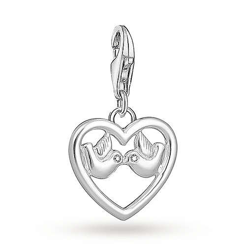 Thomas Sabo Silver Heart with Doves Charm - 1383-051-14