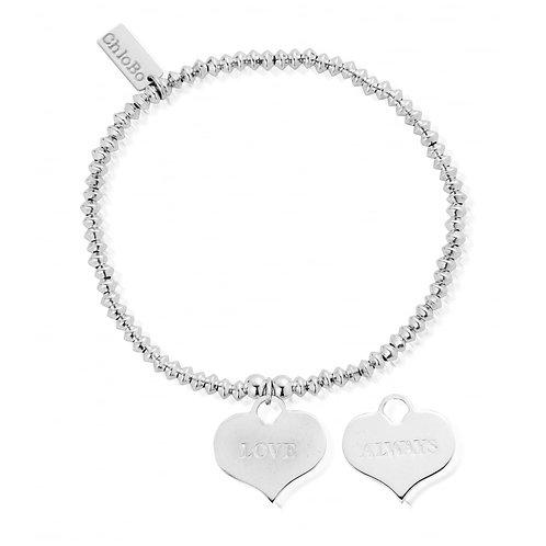 ChloBo Silver Mini Disc Love Always Heart Bracelet - SBMD209