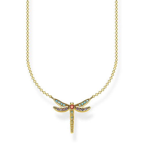 Thomas Sabo S/Silver Gold Plated Colourful Dragonfly Necklace - KE1837-974-7