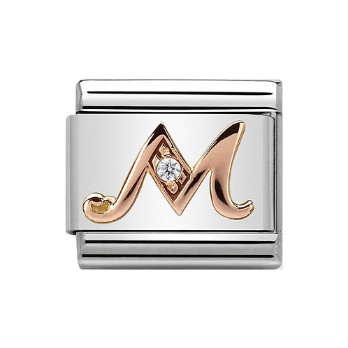 Nomination Rose Gold M Letter Charm Link  - 430310/13