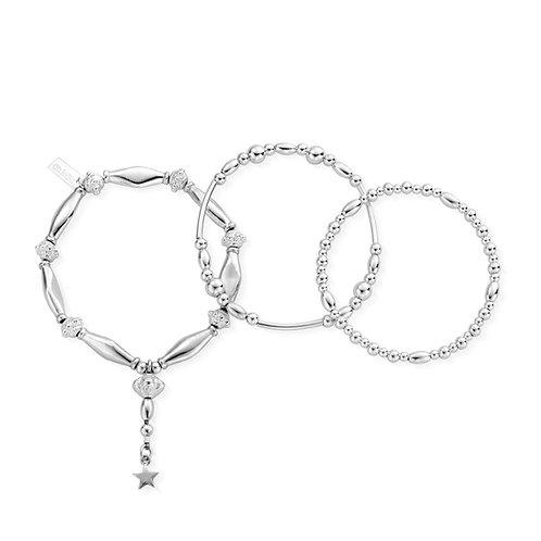 ChloBo Silver Fearless Stack of 3 Bracelets - SBSTA3F