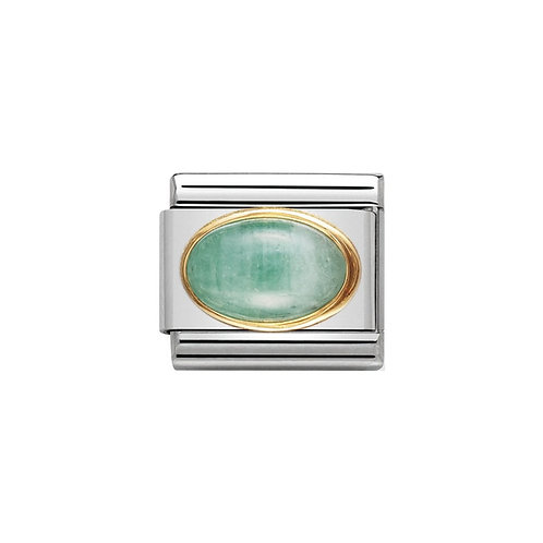 Nomination Gold Oval Green Emerald Charm Link - 030504/09