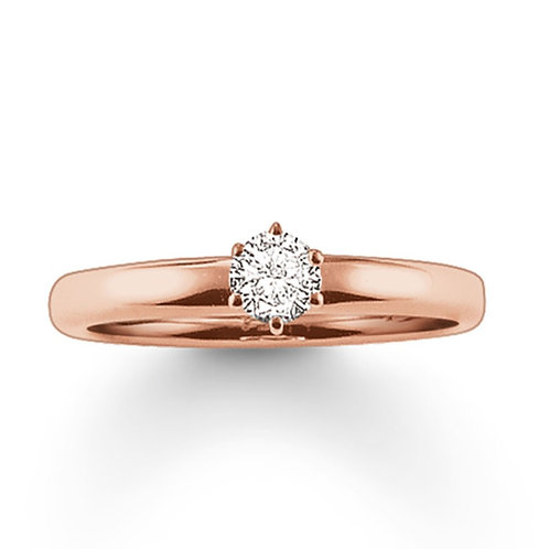 Thomas Sabo Silver CZ Solitaire Rose Gold Ring - TR1981-416-14-50