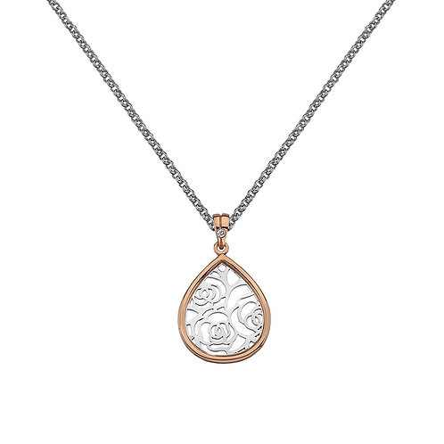 Hot Diamonds Sterling Silver Rose Gold Faith Teardrop Necklace - DP658